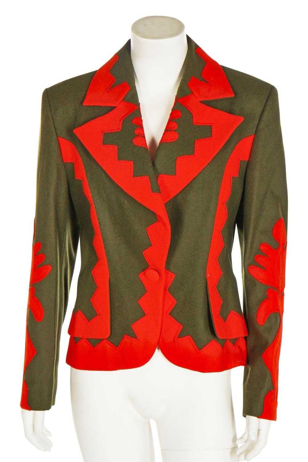 A Christian Lacroix green wool jacket with orange appliquéd cut-outs, 1990s-early 2000s