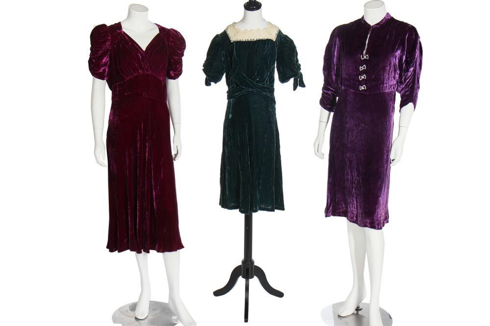 Nine dinner dresses, 1930s,