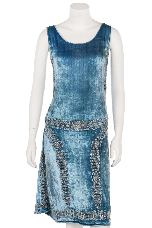 A sky-blue velvet flapper dress, circa 1928,