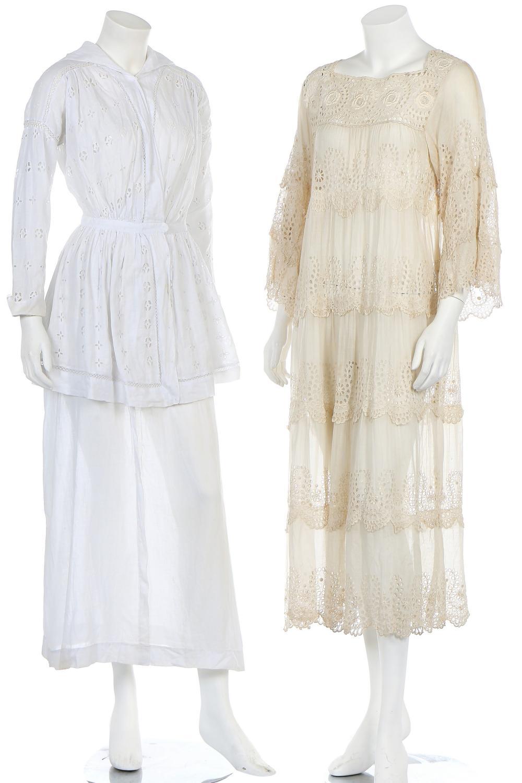 A broderie anglaise summer dress, circa 1918,