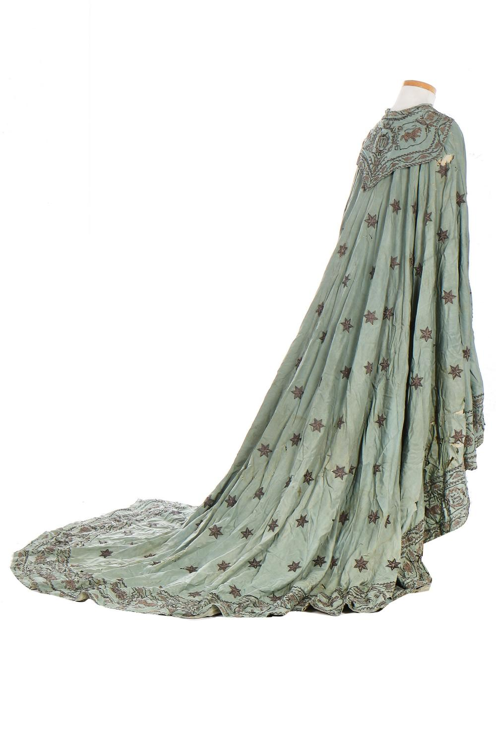 An interesting embroidered silk ceremonial or court cape, probably French, early 19th century,