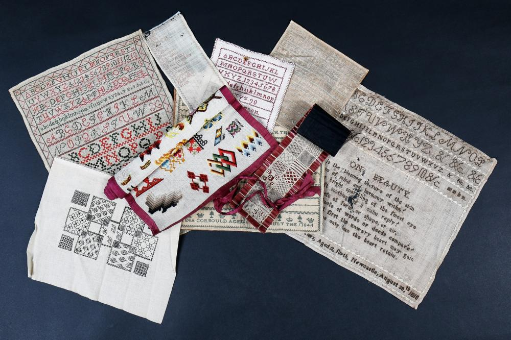 A group of needlework samplers, English, 19th century,