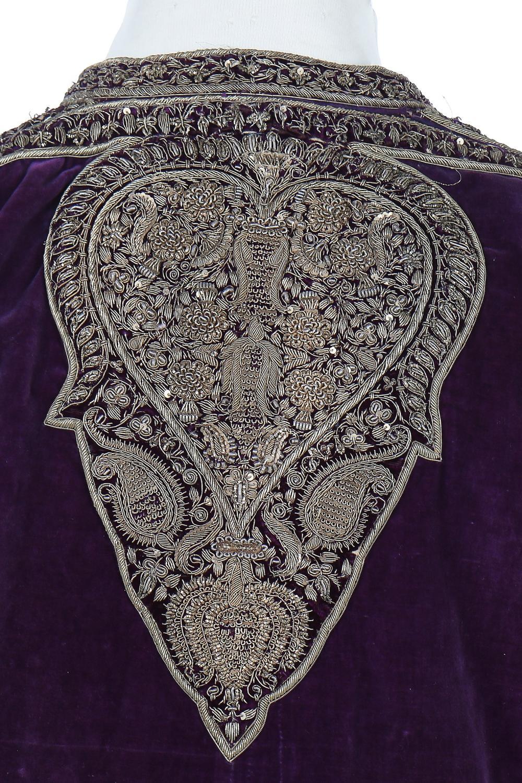 A man's purple velvet angarkha jacket, Indian, circa 1900,