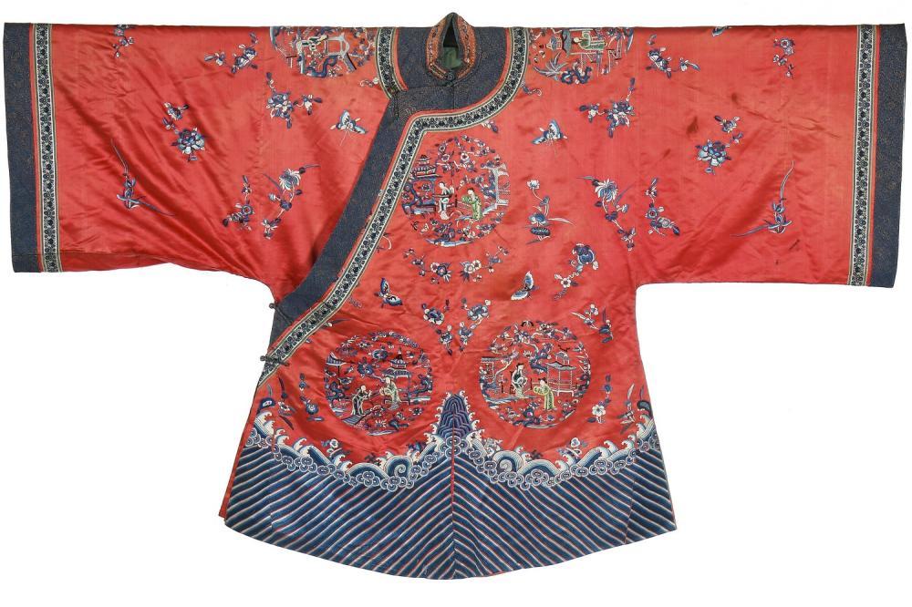 An embroidered orange satin semi-formal robe, Chinese, circa 1900,