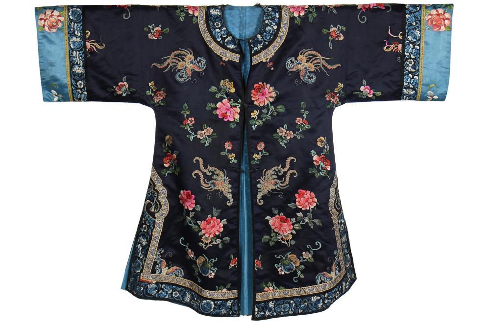 An embroidered dark blue satin informal robe, chang-fu, Chinese, circa 1900,
