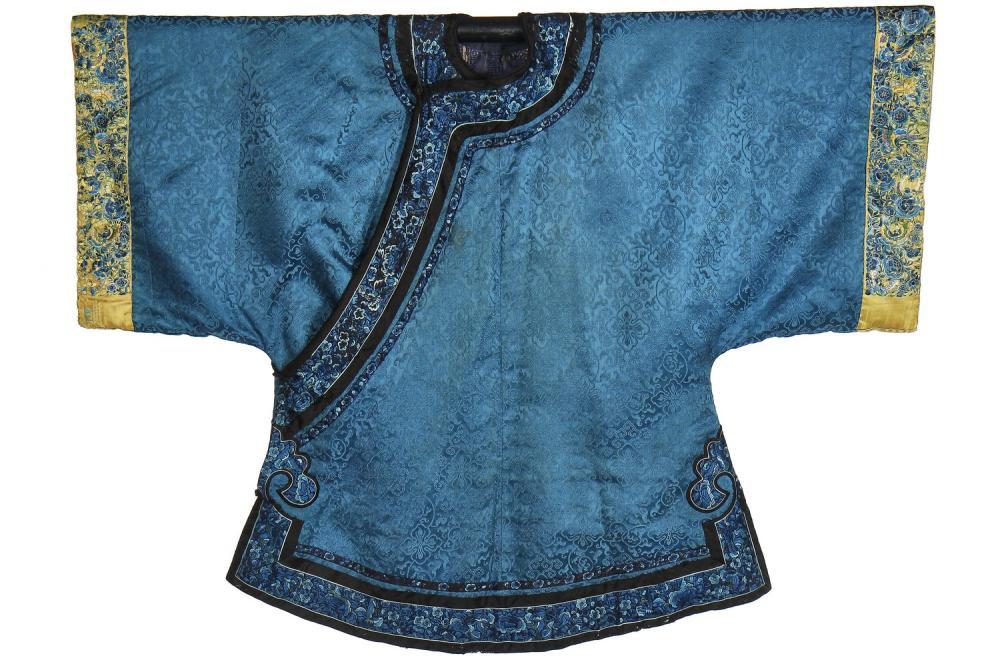 An informal winter robe of blue silk damask, Chang-Fu, Chinese, late 19th century,