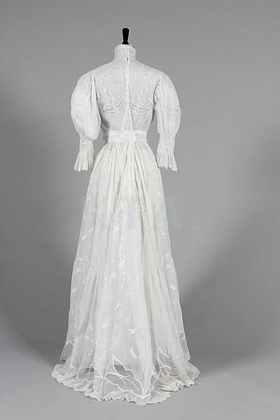A whitework embroidered and valenciennes inset for Couture a valenciennes