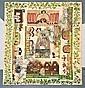 A rare appliquéd patchwork coverlet depicting the