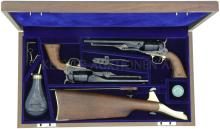 US Cavalry Commemorative, 1777 - 1977, Holzkassette mit 2 Perkussionsrevolvern, Colt 1860, Model Army, Kal. .44