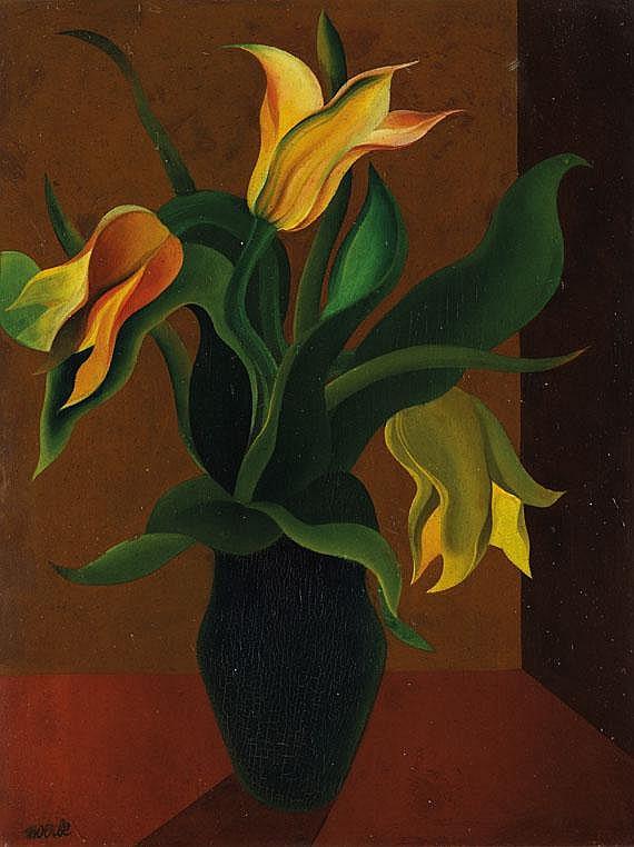 Heinrich Hoerle(1895 Köln - 1936 Köln). Tulpen in