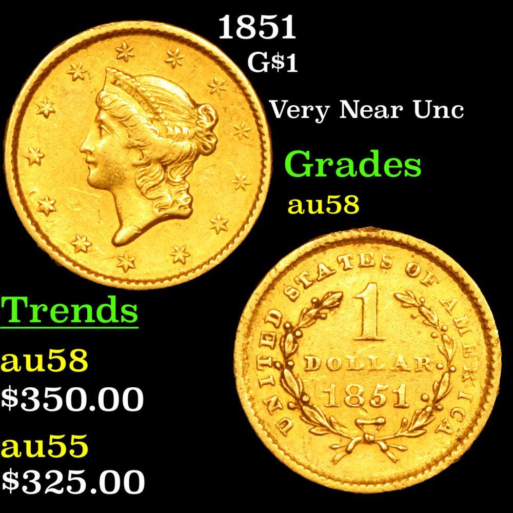 1851 Gold Dollar $1 Grades Choice AU/BU Slider