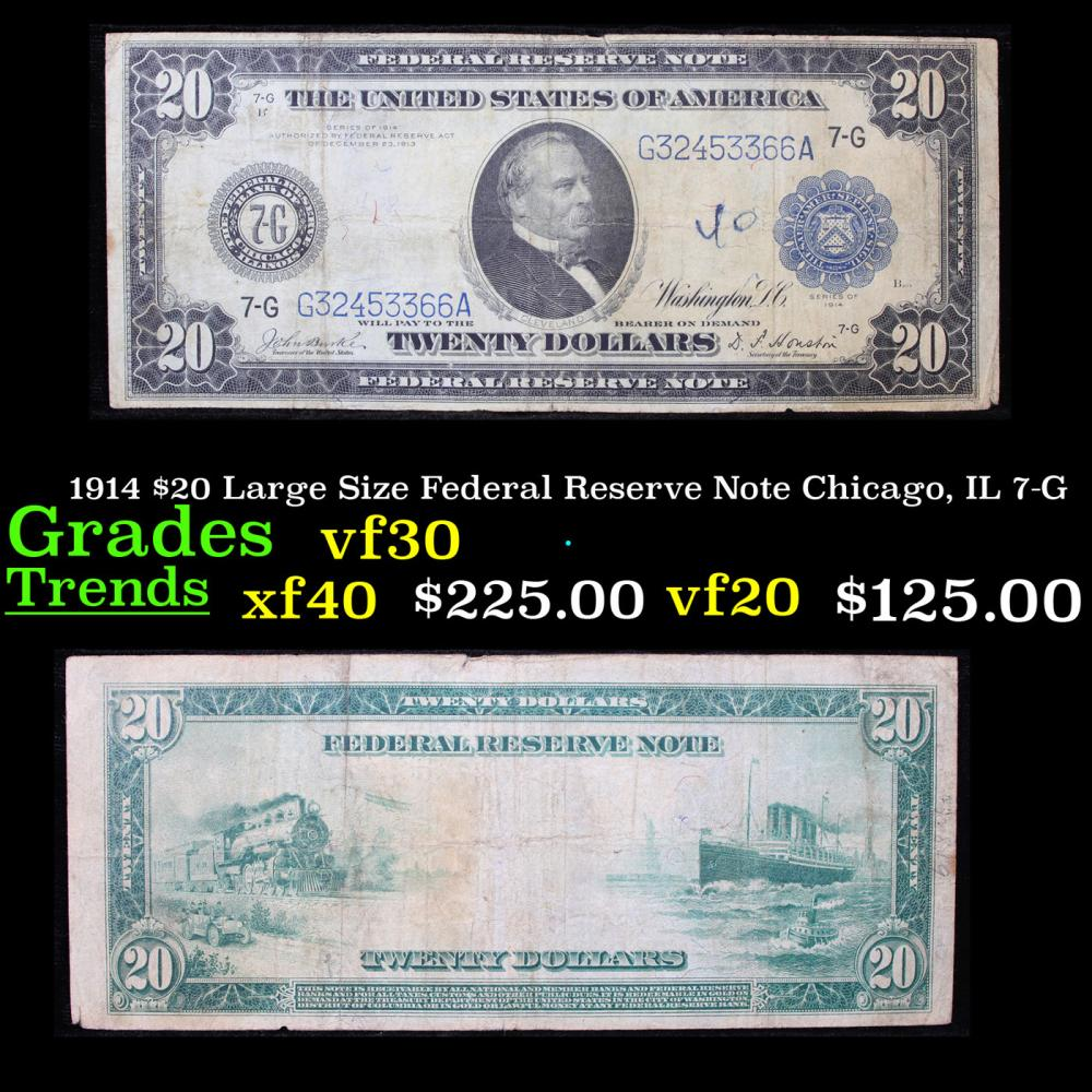 1914 $20 Large Size Federal Reserve Note Chicago, IL 7-G Grades vf++