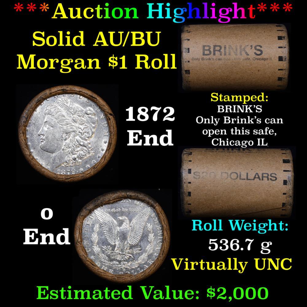 ***Auction Highlight*** AU/BU Slider Brinks Shotgun Morgan $1 Roll 1879 & O Ends Virtually UNC (fc)