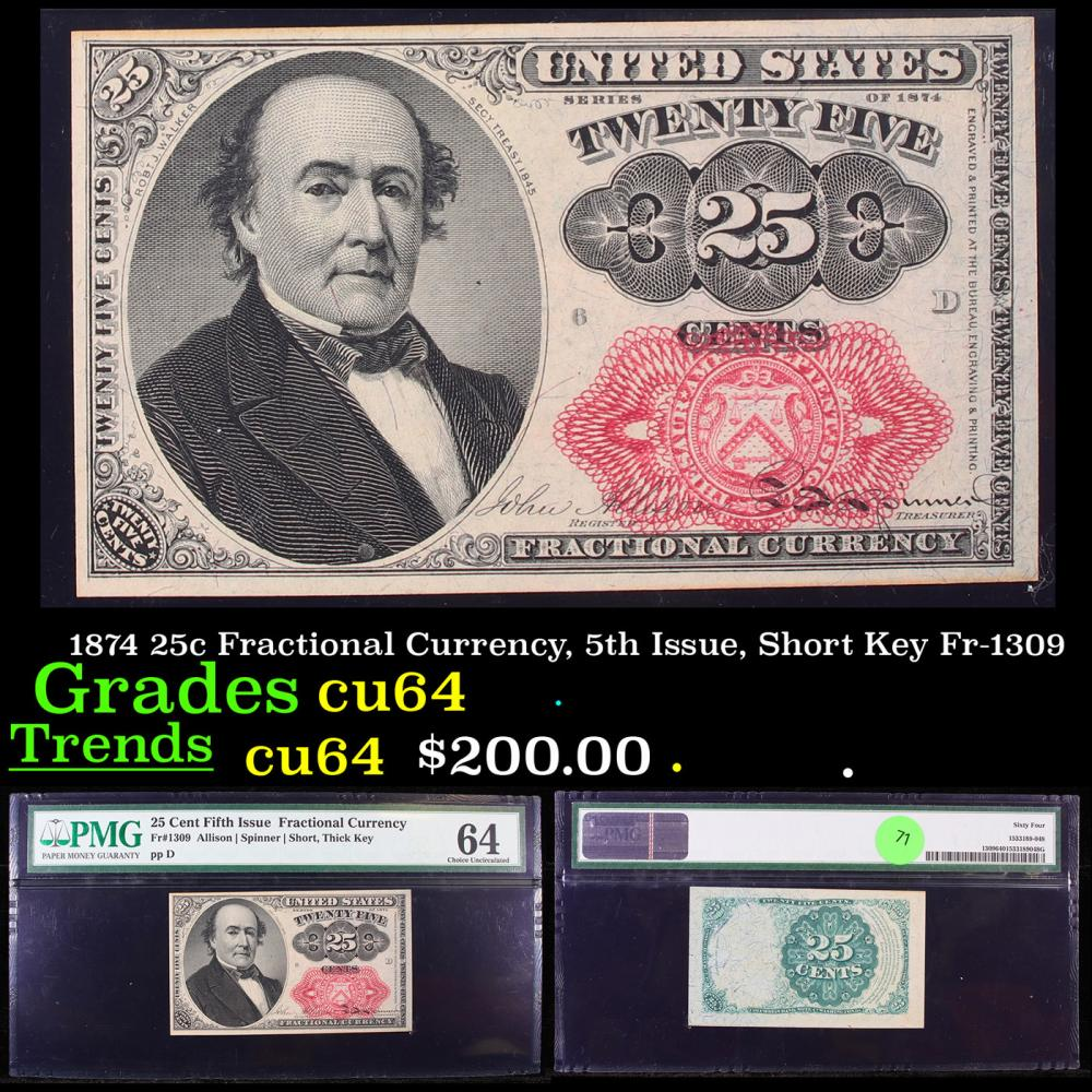 1874 25c Fractional Currency, 5th Issue, Short Key Fr-1309 Graded cu64 By PMG
