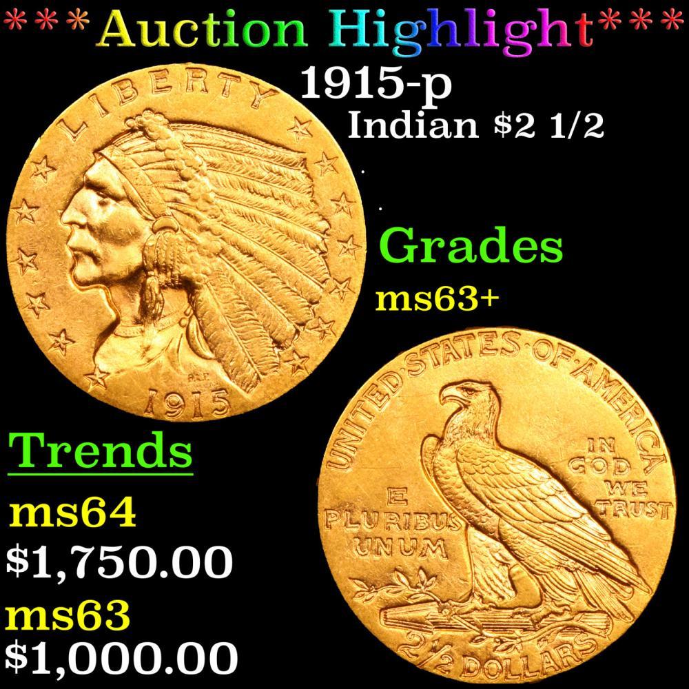 ***Auction Highlight*** 1915-p Gold Indian Quarter Eagle $2 1/2 Grades Select+ Unc (fc)