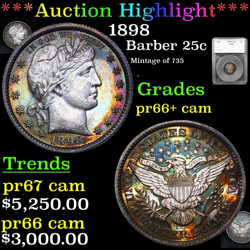 Proof ***Auction Highlight*** 1898 Barber Quarter 25c Graded pr66+ cam By SEGS (fc)