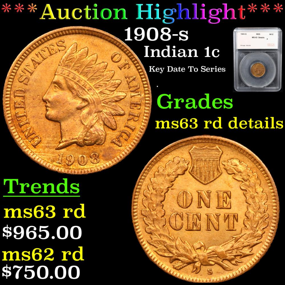 ***Auction Highlight*** 1908-s Indian Cent 1c Graded ms63 rd details By SEGS (fc)