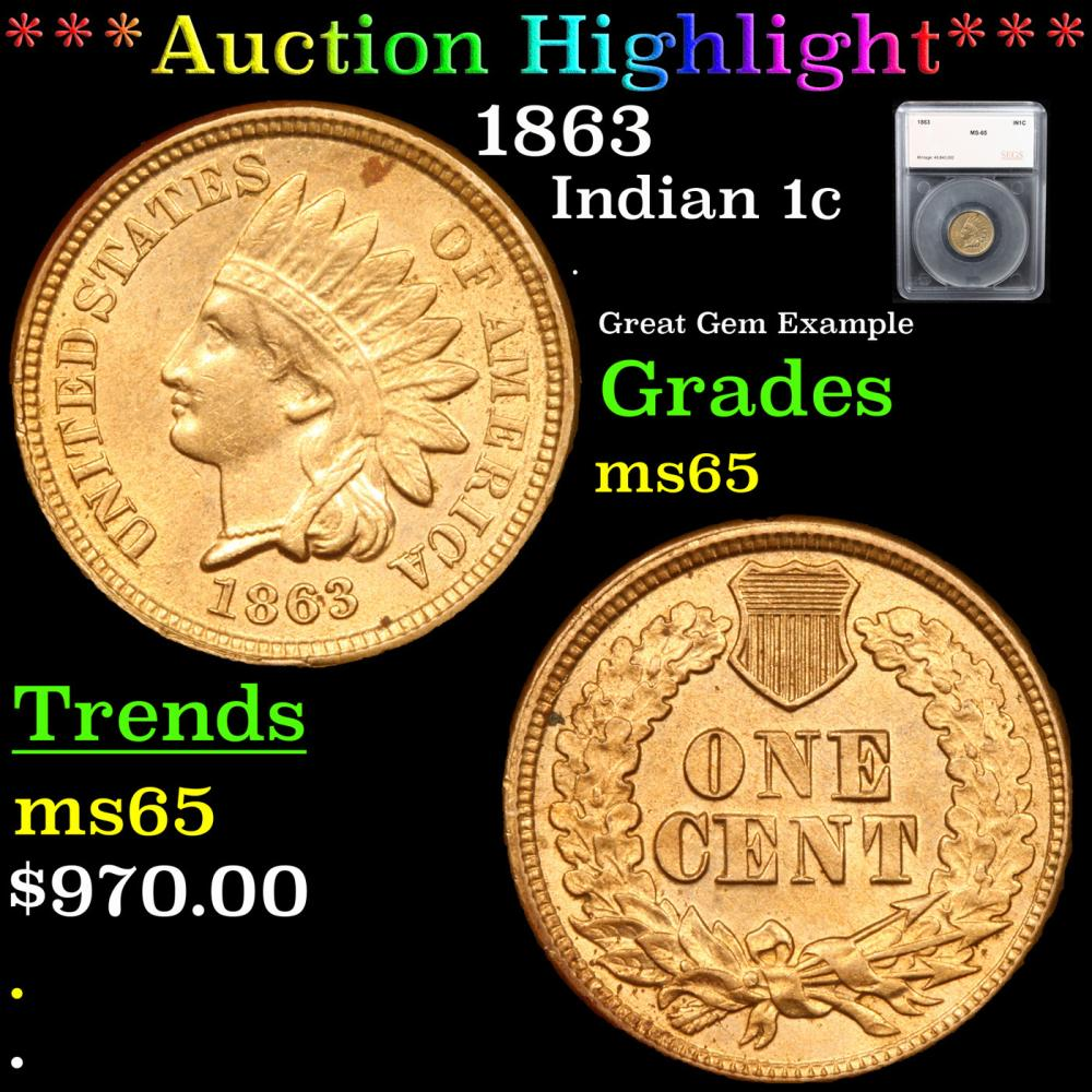 ***Auction Highlight*** 1863 Indian Cent 1c Graded ms65 By SEGS (fc)