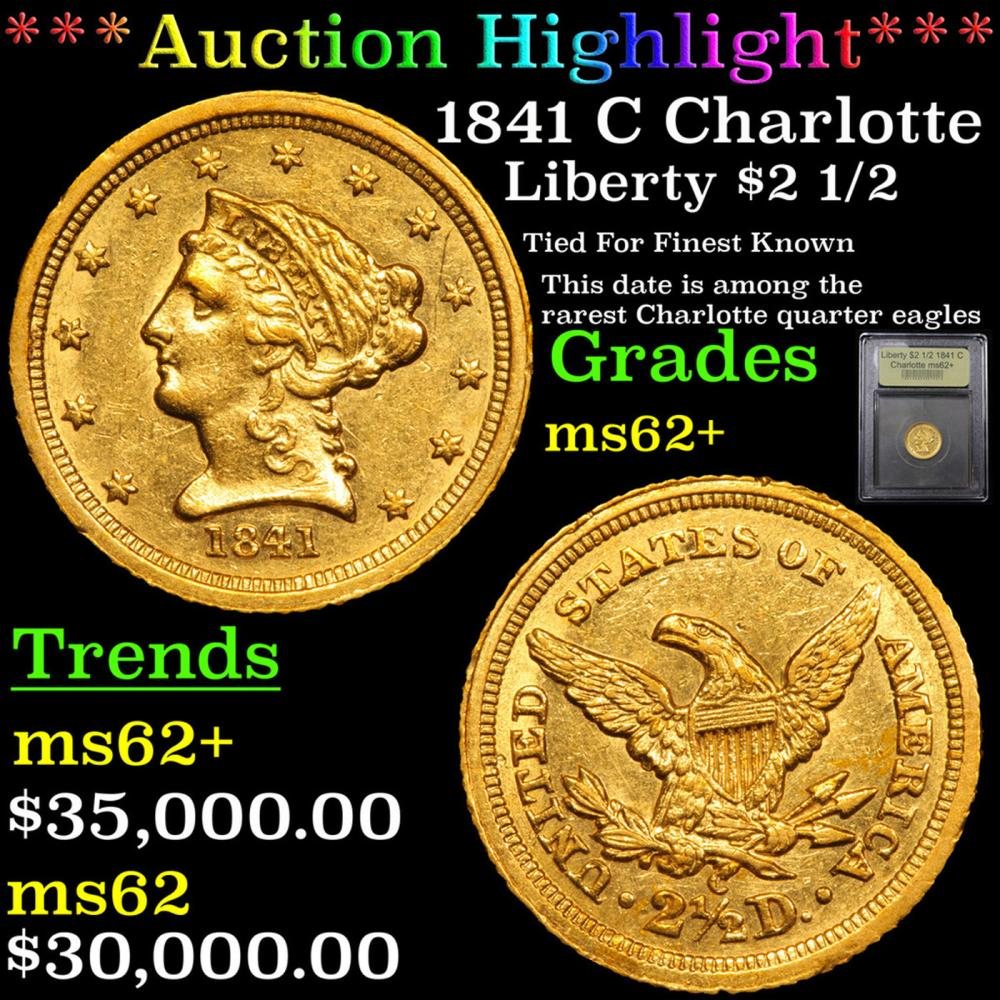 ***Auction Highlight*** 1841 C Charlotte Gold Liberty Quarter Eagle $2 1/2 Grades Select Unc By USCG
