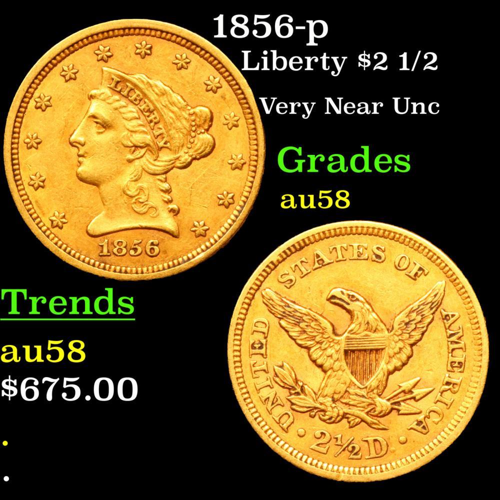 1856-p Gold Liberty Quarter Eagle $2 1/2 Grades Choice AU/BU Slider