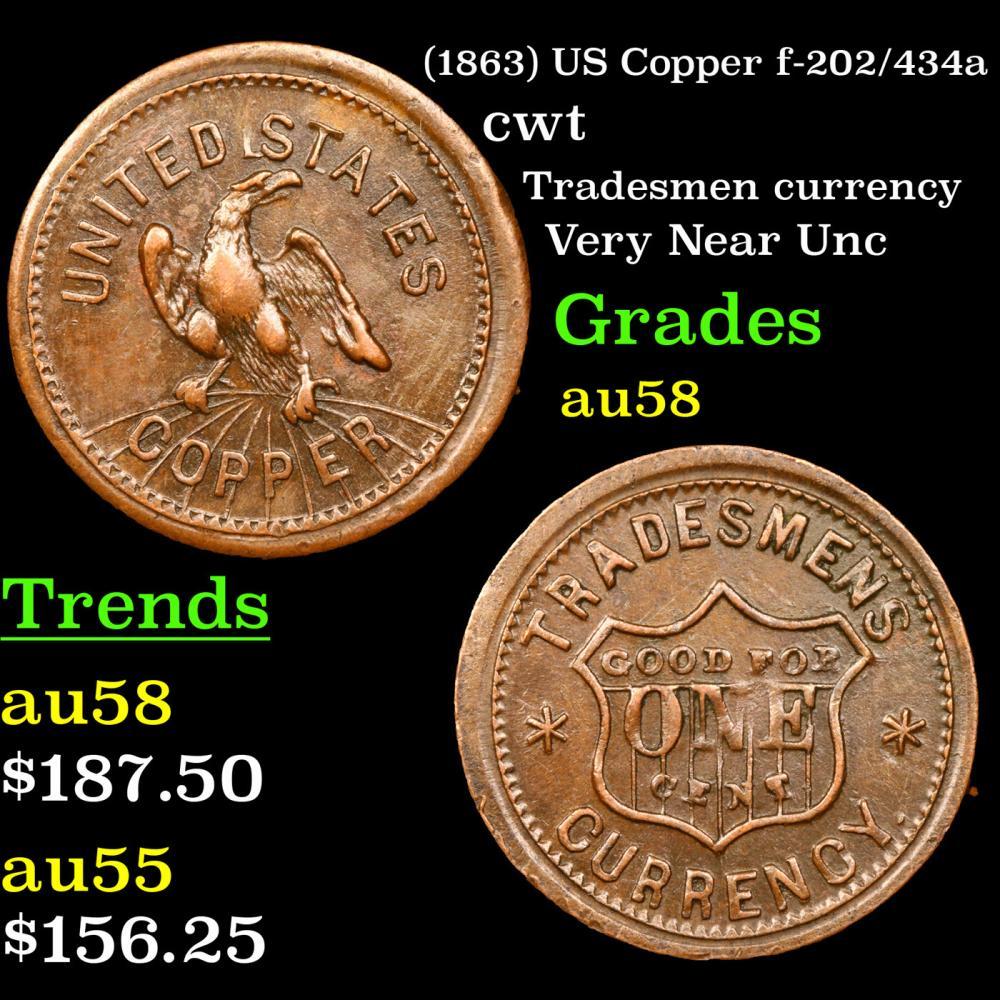 (1863) US Copper f-202/434a Civil War Token 1c Grades Choice AU/BU Slider