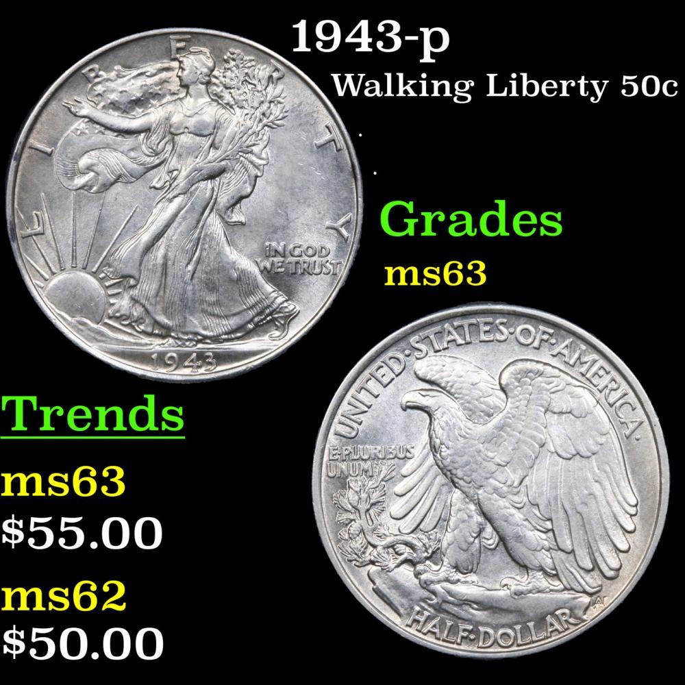 1943-p Walking Liberty Half Dollar 50c Grades Select Unc