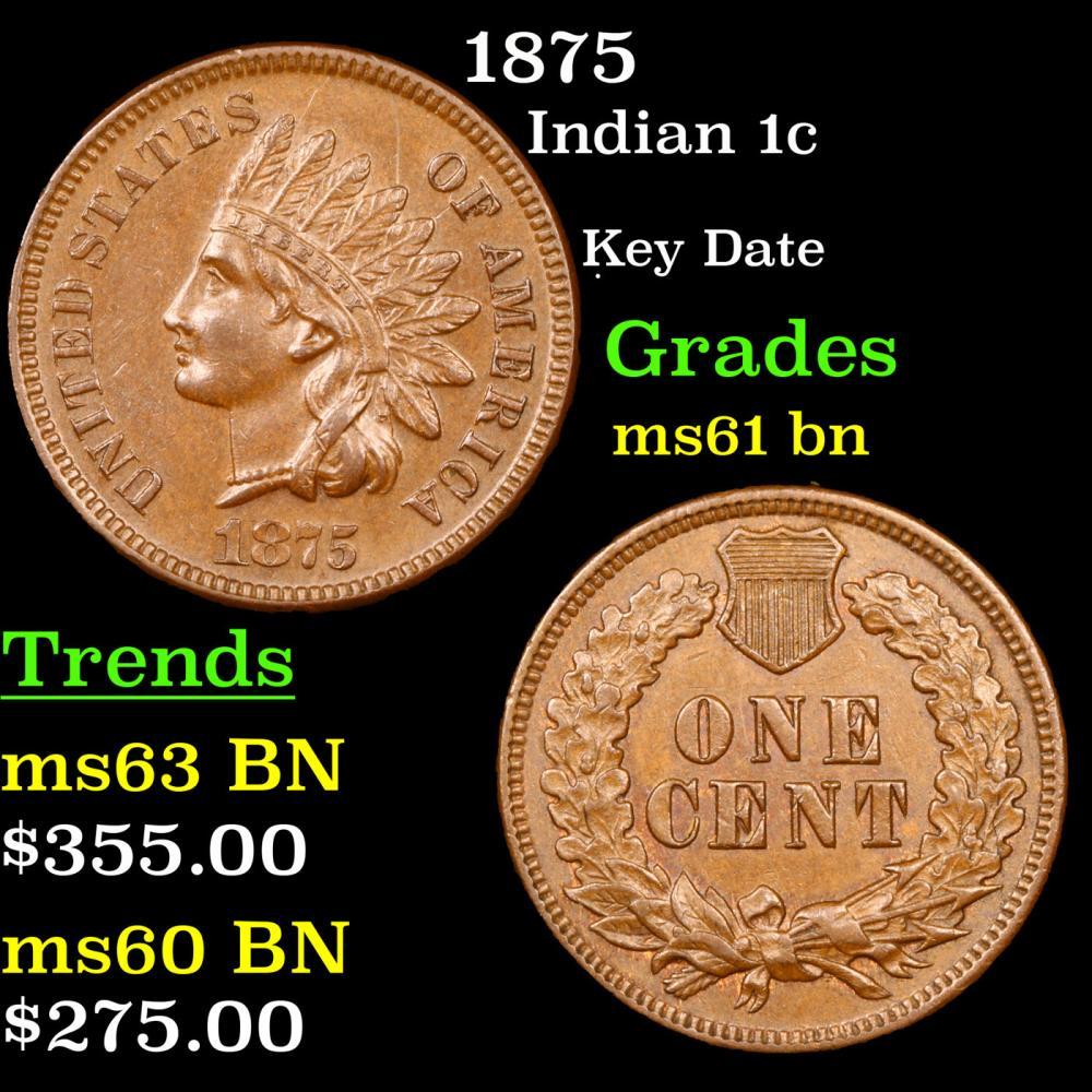 1875 Indian Cent 1c Grades Unc+ BN