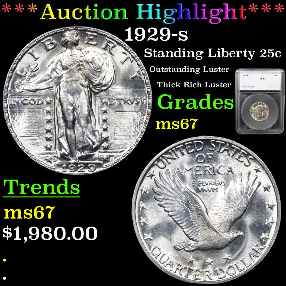 ***Auction Highlight*** 1929-s Standing Liberty Quarter 25c Graded ms67 By SEGS (fc)