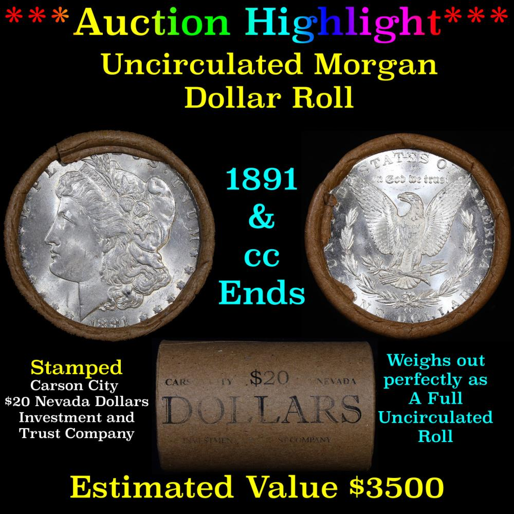 ***Auction Highlight*** 1891 & CC Uncirculated Morgan Dollar Shotgun Roll (fc)