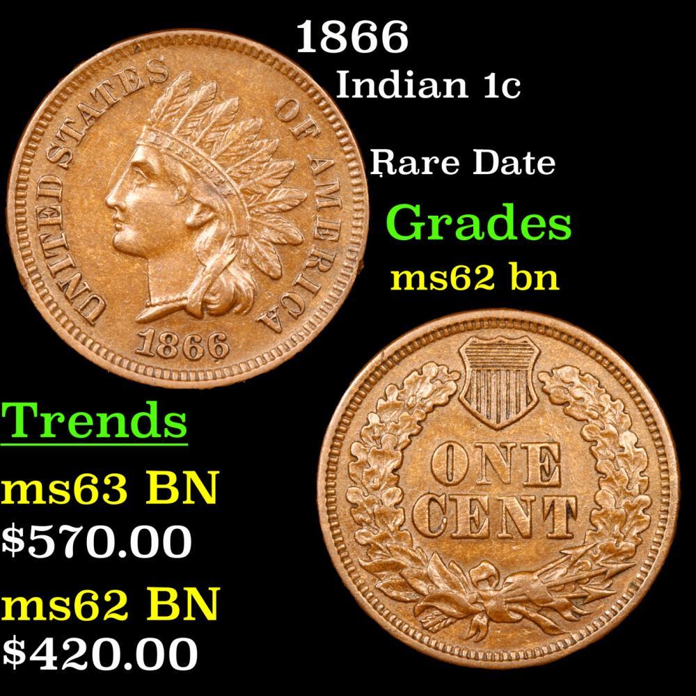 1866 Indian Cent 1c Grades Select Unc BN
