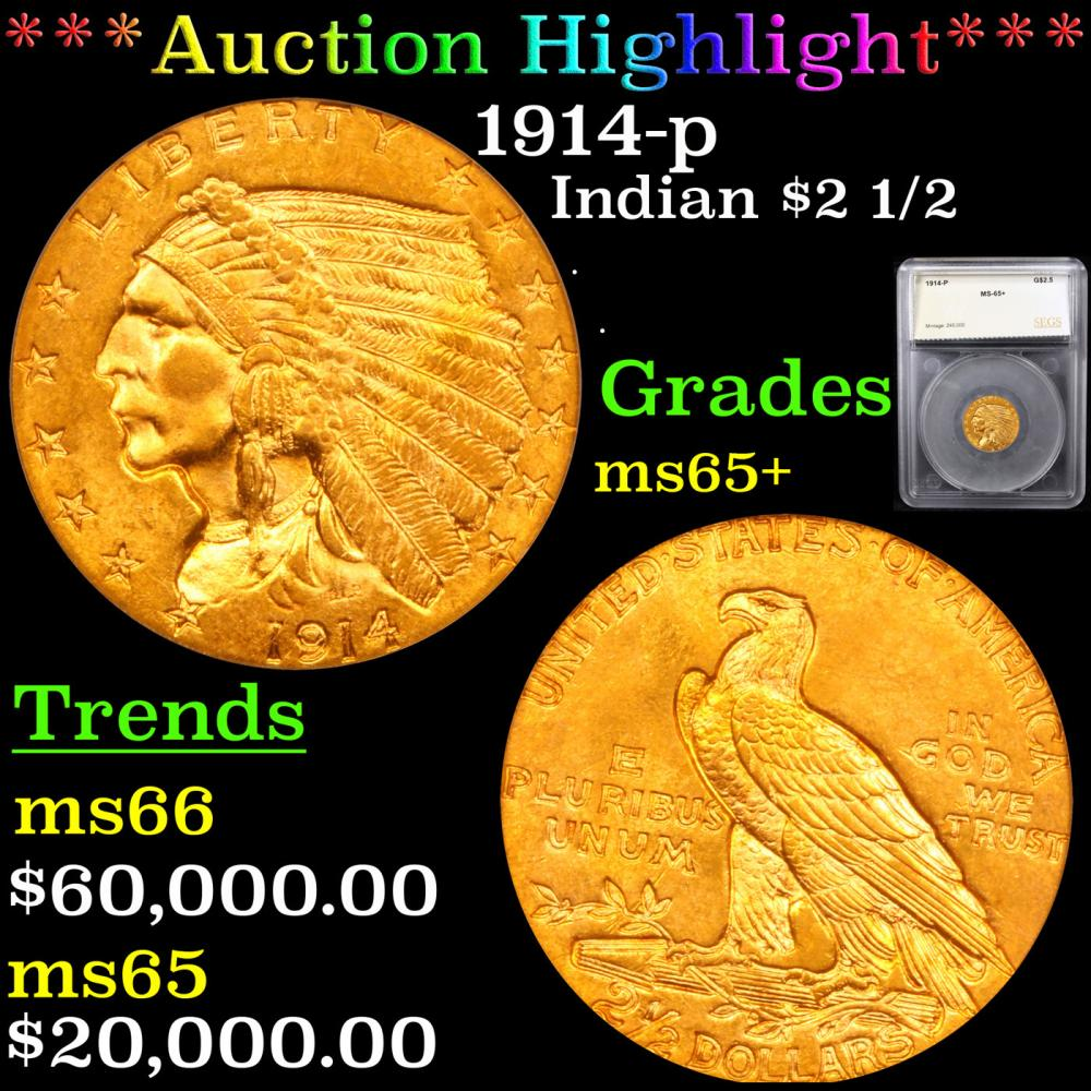 ***Auction Highlight*** 1914-p Gold Indian Quarter Eagle $2 1/2 Graded ms65+ By SEGS (fc)