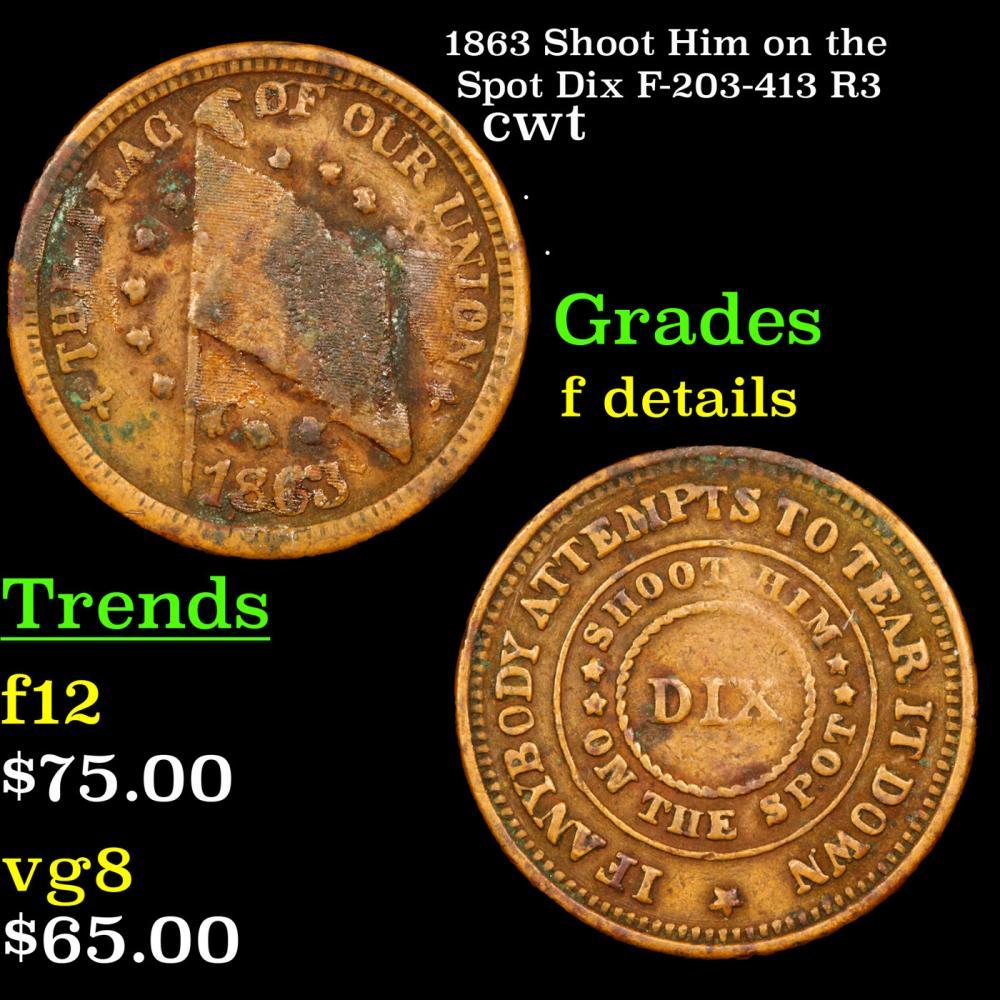 1863 Shoot Him on the Spot Dix F-203-413 R3 Civil War Token 1c Grades f details