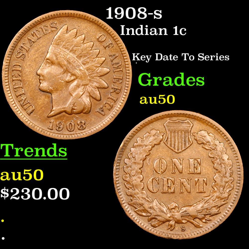 1908-s Indian Cent 1c Grades AU, Almost Unc