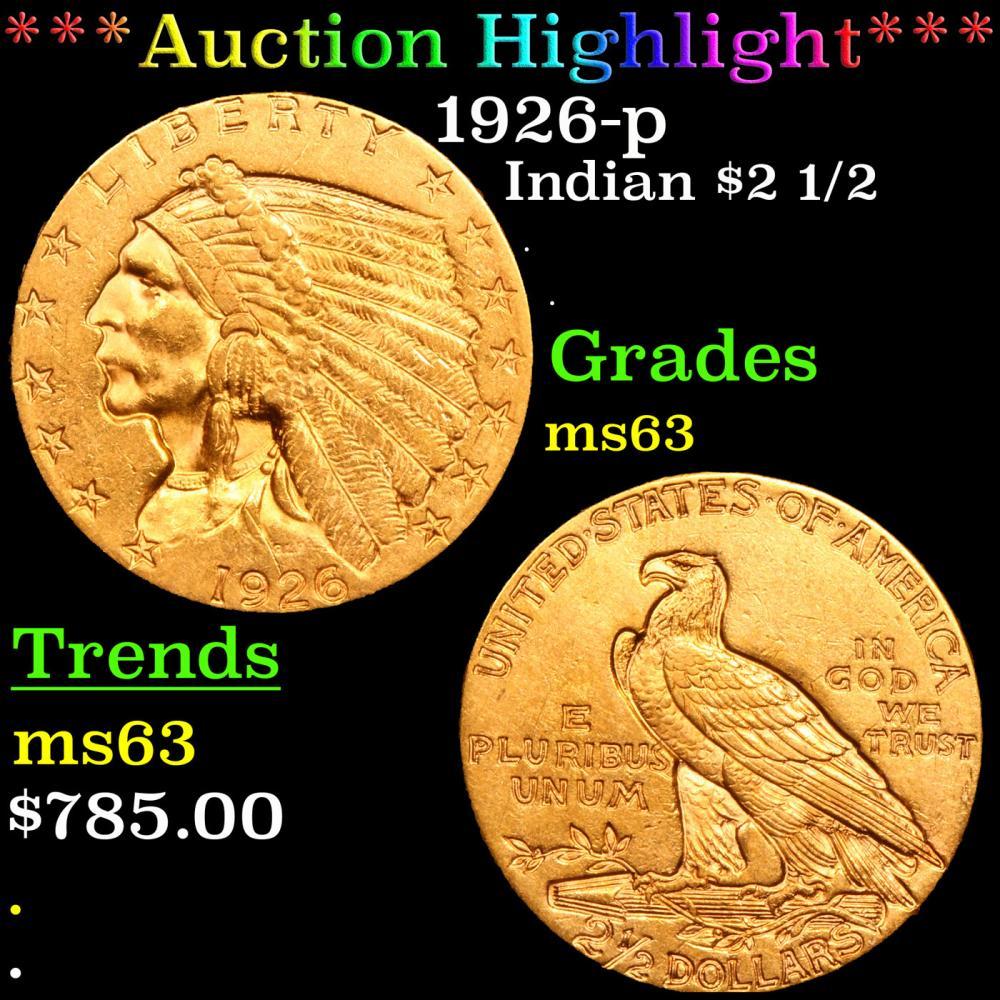 ***Auction Highlight*** 1926-p Gold Indian Quarter Eagle $2 1/2 Grades Select Unc (fc)