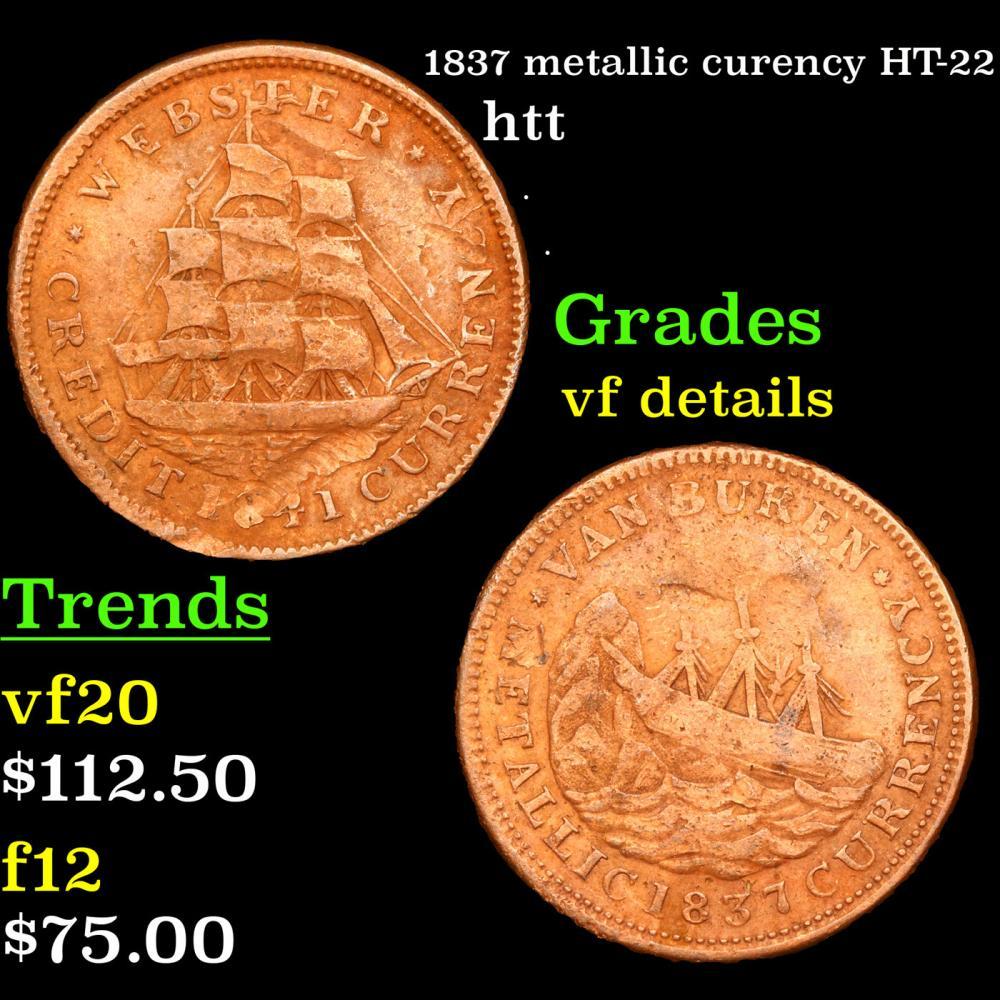 1837 metallic curency HT-22 Hard Times Token 1c Grades vf details