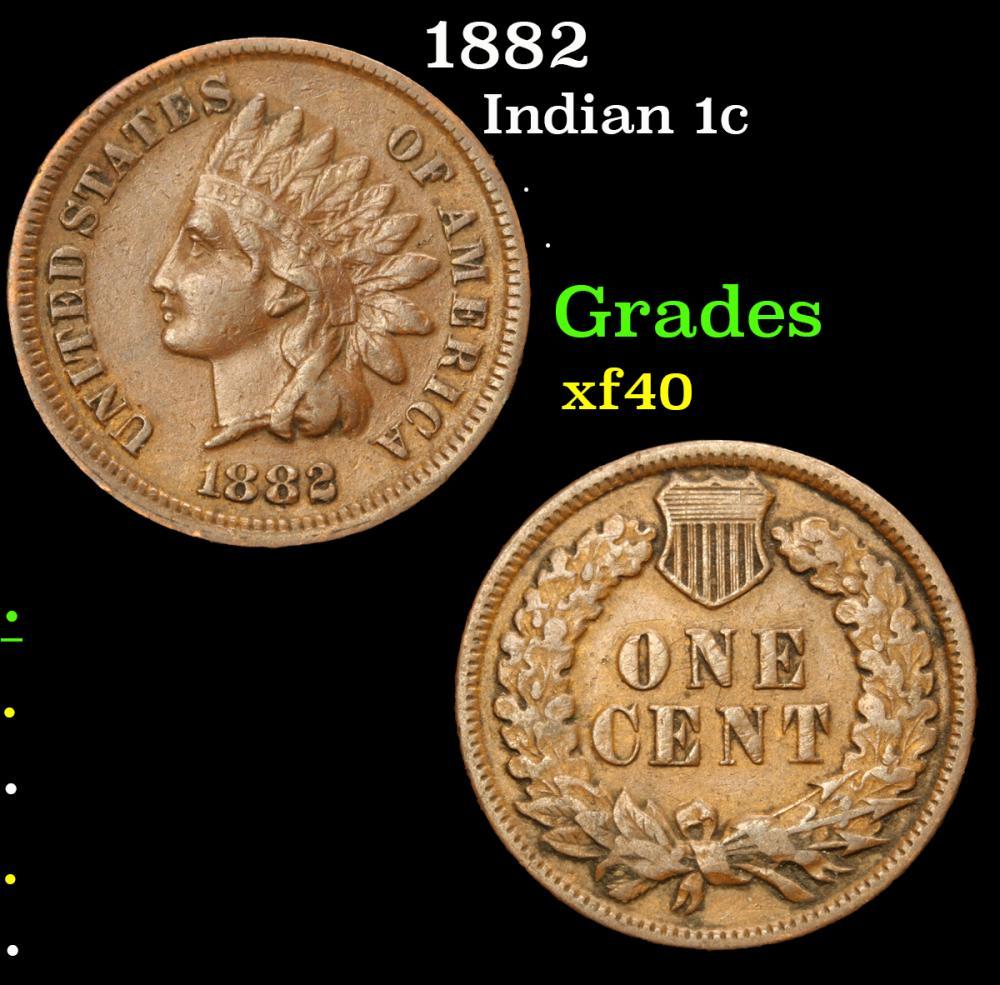 1882 . . Indian Cent 1c Grades xf
