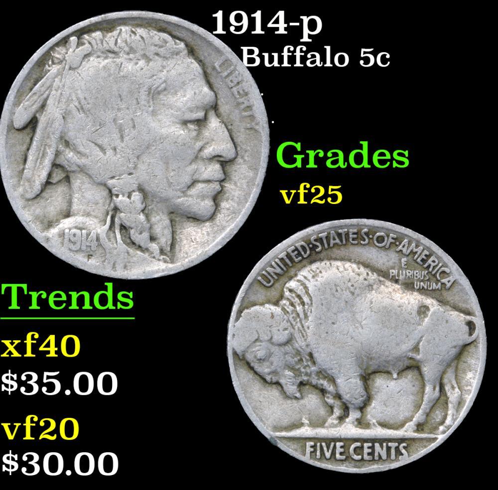 1914-p . . Buffalo Nickel 5c Grades vf+