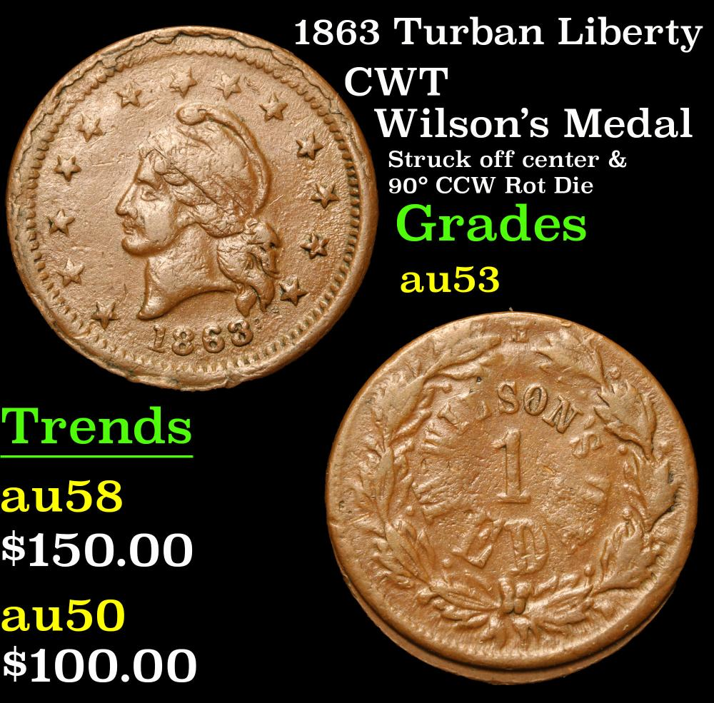 1863 Turban Liberty Wilson's Medal Struck off center & 90¡ CCW Rot Die CWT 1c Grades Select AU