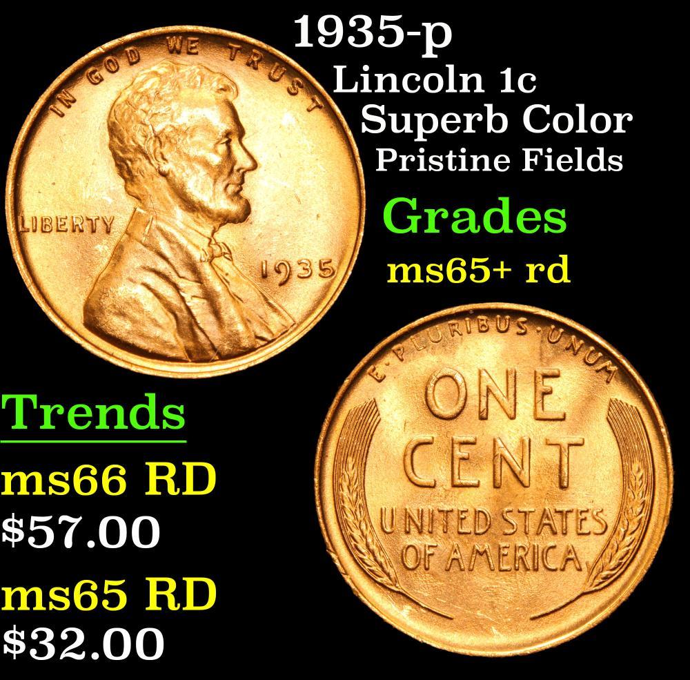 1935-p Superb Color Pristine fields Lincoln Cent 1c Grades Gem+ Unc RD