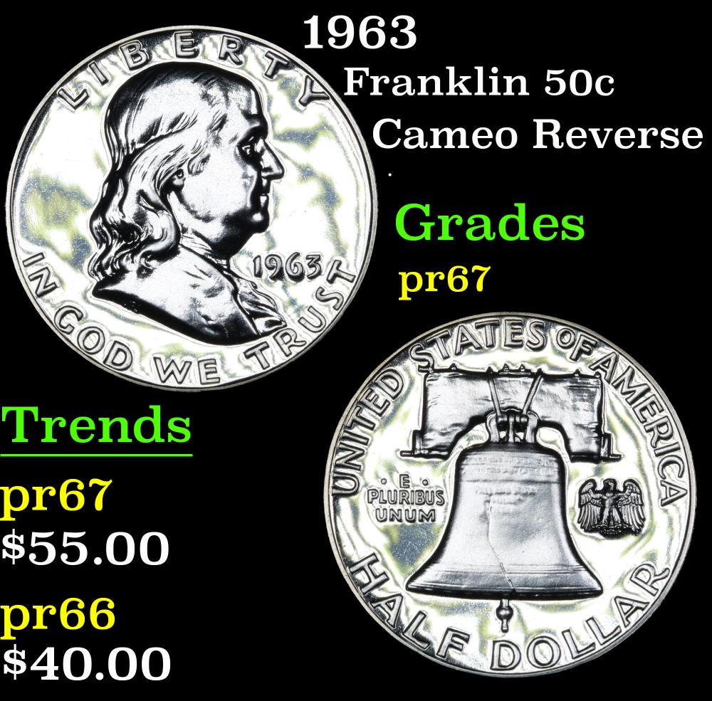 1963 Cameo Reverse . Franklin Half Dollar 50c Grades GEM++ Proof