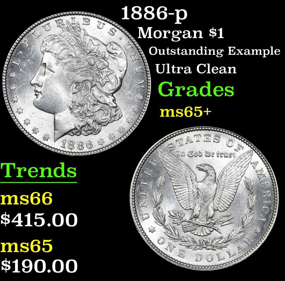 1886-p Outstanding example Ultra clean Morgan Dollar $1 Grades GEM+ Unc