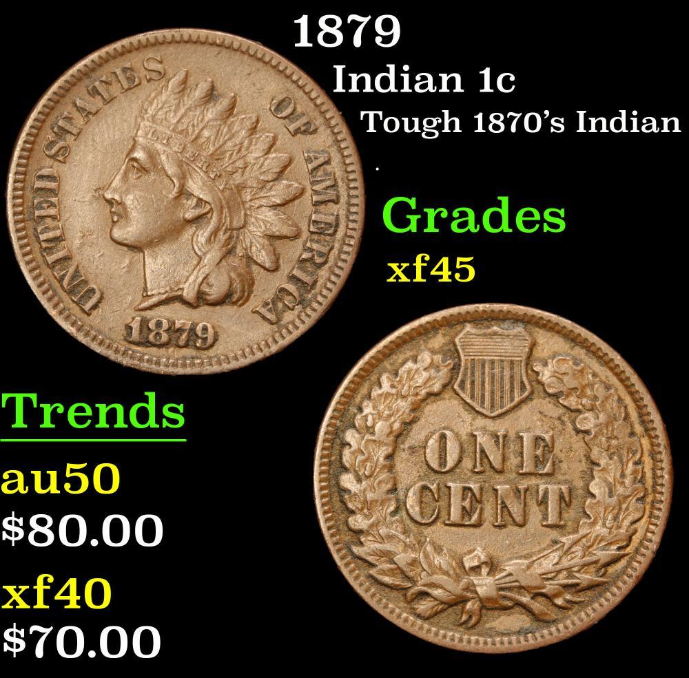 1879 Tough 1870's Indian . Indian Cent 1c Grades xf+