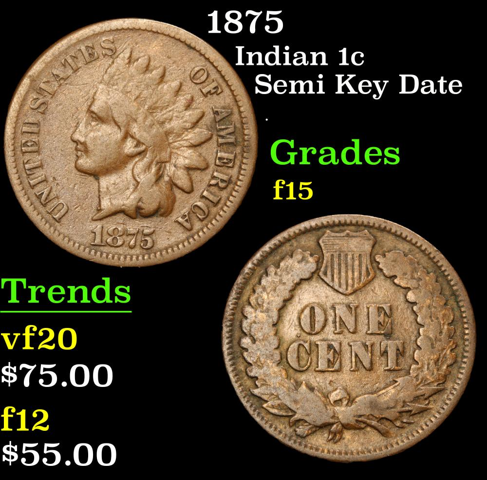 1875 Semi Key Date . Indian Cent 1c Grades f+