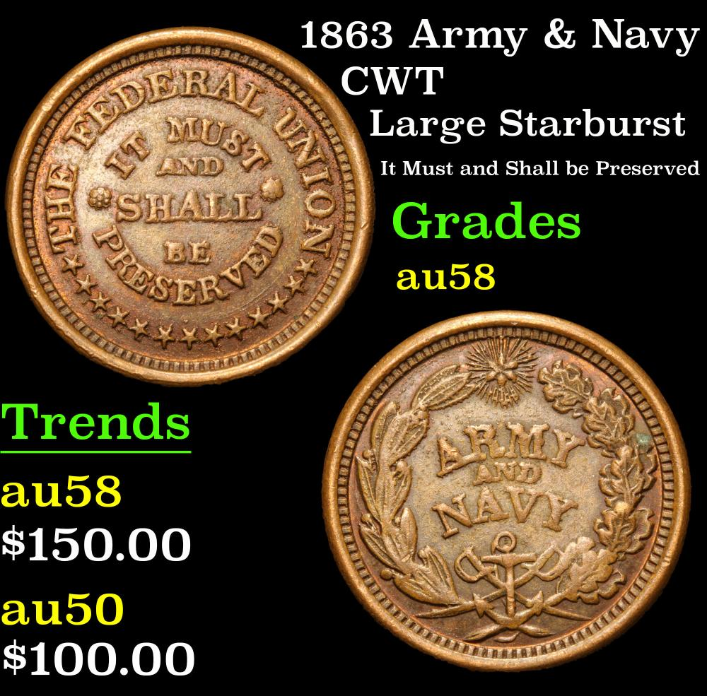1863 Army & Navy Large Starburst It Must and Shall be Preserved CWT 1c Grades Choice AU/BU Slider