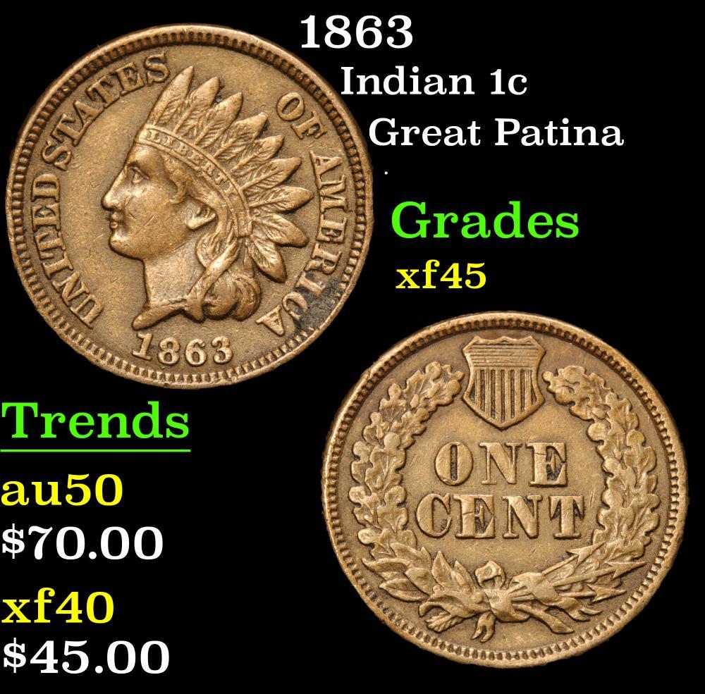 1863 Great Patina . Indian Cent 1c Grades xf+