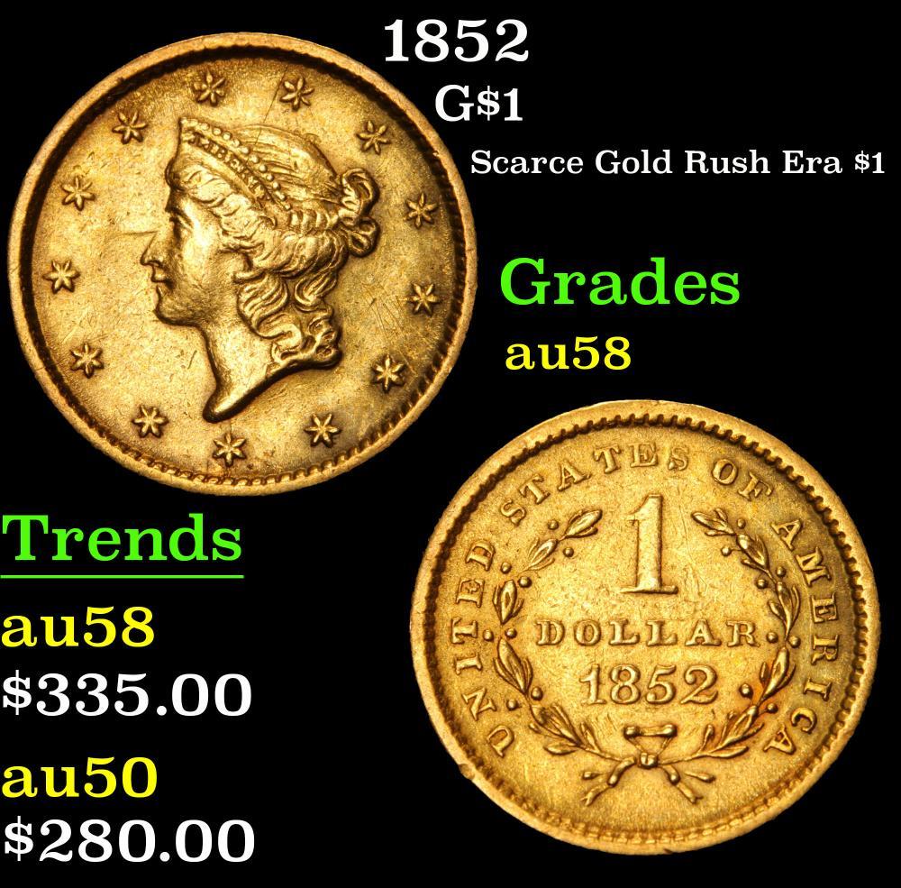 1852 Scarce Gold Rush Era $1 . Gold Dollar 1 Grades Choice AU/BU Slider