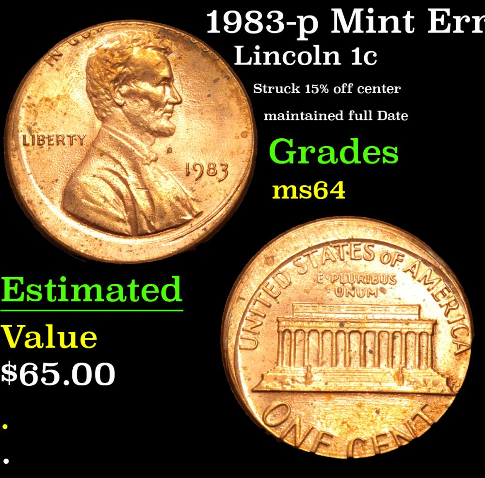 1983-p Mint Error Struck 15% off center maintained full Date Lincoln Cent 1c Grades Choice Unc