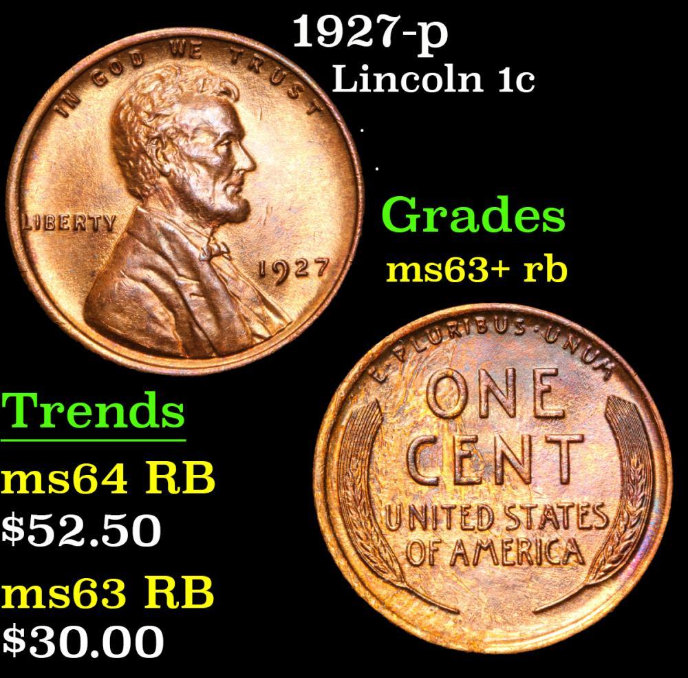 1927-p . . Lincoln Cent 1c Grades Select+ Unc RB