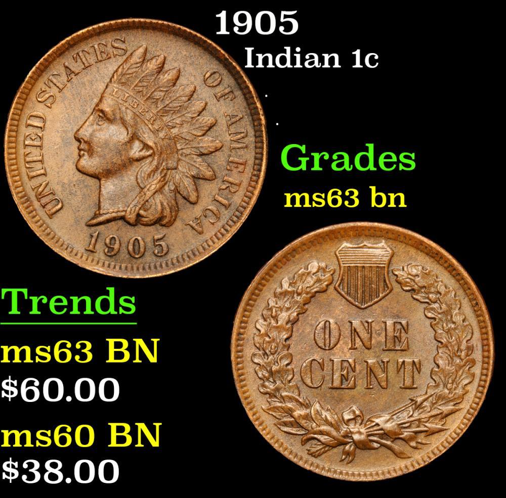 1905 . . Indian Cent 1c Grades Select Unc BN