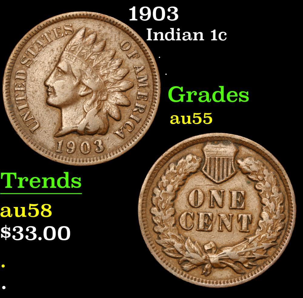 1903 . . Indian Cent 1c Grades Choice AU